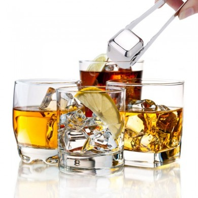 4Pcs Stainless Steel Whisky Stones Cube Glacier Whiskey Rocks