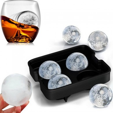 Honana Four Holes Silicone Whiskey Ice Hockey Mold Ice Cube Tray With Lid
