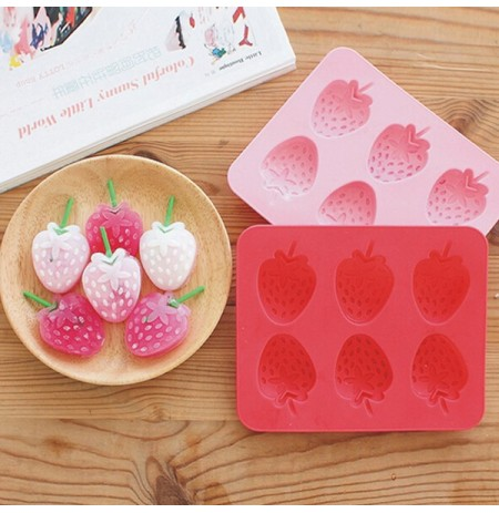 6 Cups DIY TPR Material Strawberry Shape Ice Mould Silicone Ice Cube Tray Ice-cream Mould