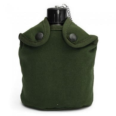 Outdoor Tactical Camping Water Bottle Aluminum Green Cover Drinking Cup