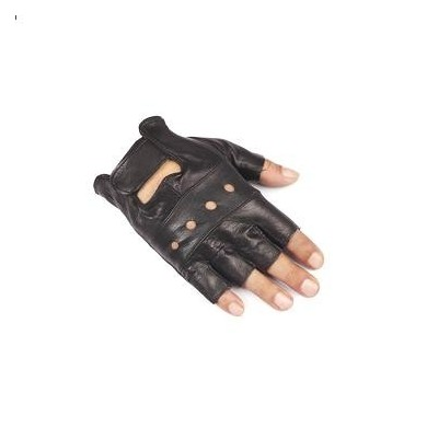 FAITH PRO Hunting Sports Tactical PU Leather Wrist Half Finger Black Unisex Mittens Goat Gloves