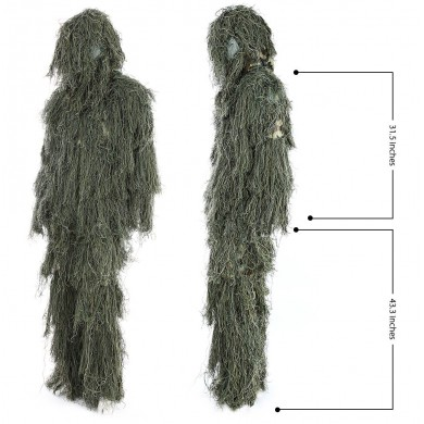 Hunting Woodland Jungle Camouflage Camo Sniper Ghillie Suit Set