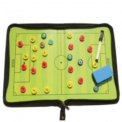 Magnetic Training Football Pro Soccer Tactic Board Folder Leather Portable