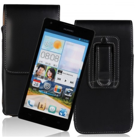 Waist Hanged Black Flip Open Up And Down Leather Case For Huawei G700
