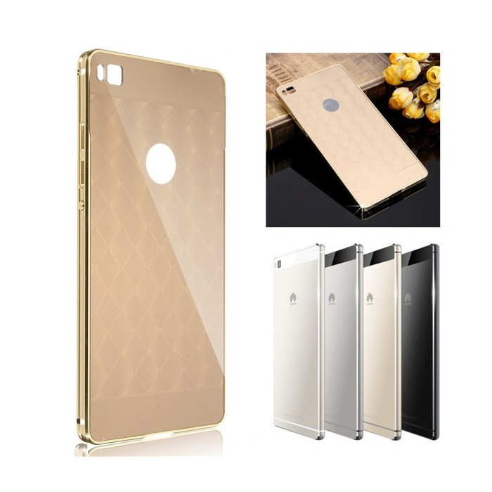 Luxury Aluminum Metal Bumper Mirror Back Case Cover For HUAWEI Ascend P8