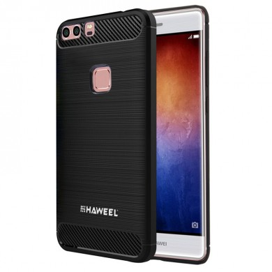 HAWEEL Carbon Fiber Anti-Scratch Slicone Protective Back Cover Case For Huawei P9