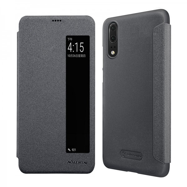 NILLKIN Message Window Auto Sleep Flip PU Leather Full Body Cover Protective Case for Huawei P20