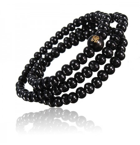 Retro Buddhist Buddha Multi Chain Black Bead pulsera collar para hombre