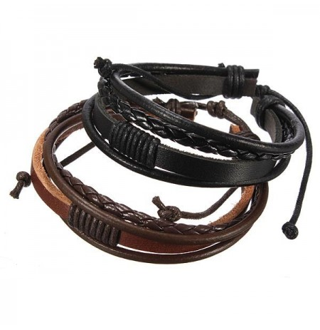 Retro 4 Rounds Woven Surf Leather Bracelet Wristband Multilayer Bangle Gift for Men