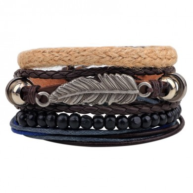 Vintage Multilayer Wood Beads Woven Leather Bracelet Folha Pingente Unisex Bangle Chain
