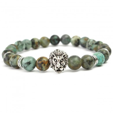 8mm Trendy Men Beads Bracelet Lion Head Bangle Chain Jewelry Accessories