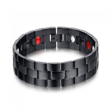 Black Stainless Steel Magnet Health Healing Men Bracelet Jewelry Gift
