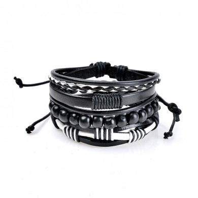 Vintage Multilayer Bracelet Bead Woven Leather Chain Wristband Jewelry Gift for Men