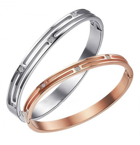 Sweet Titanium Steel Silver Rose Gold Bangle Matching Bracelets for Couples