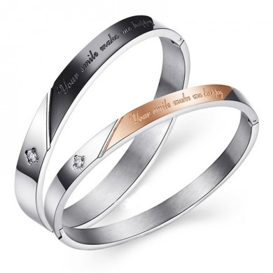 Trendy Titanium Steel Couple Bracelets Bangle Relationship Bracelet for Men Women