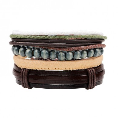 Unisex Multicolor Chain Vintage Leather Multilayer Bracelet Gift Jewelry