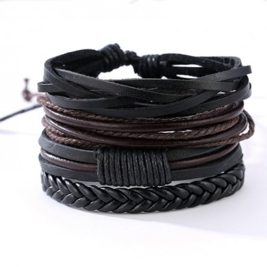 Vintage Adjustable Braided Leather Multilayer Wrap Weave Unisex Bracelets