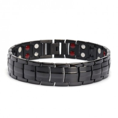 Punk Stainless Steel 4 em 1 Strong Magnetic Therapy Bracelet Healing Jewelry for Men