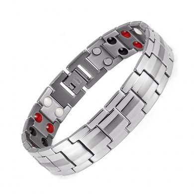 Punk Men Stainless Steel 4 in 1 Silver Strong Magnetic Therapy Bracelet Healing Jewelry