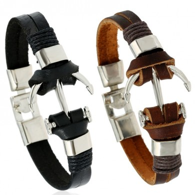 Punk Zinc Alloy Anchor Woven Leather Chain Cuff Bracelets for Men