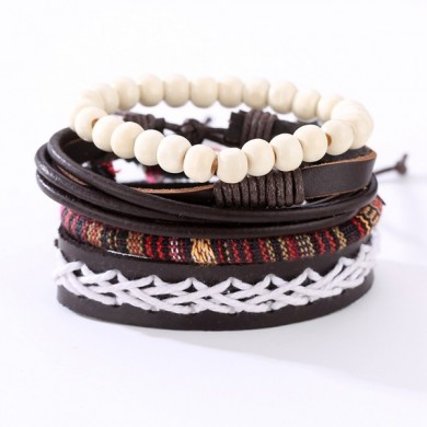 Punk Braided Leather Bracelet Adjustable White Beaded Bracelet for Men
