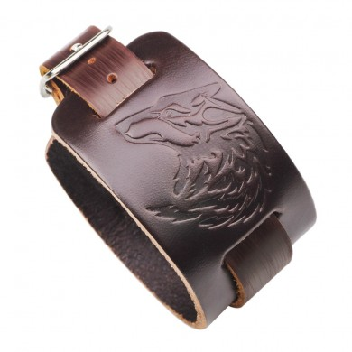 Punk Adjustable Genuine Leather Bracelet Wild Wolf Totem Wristband for Men