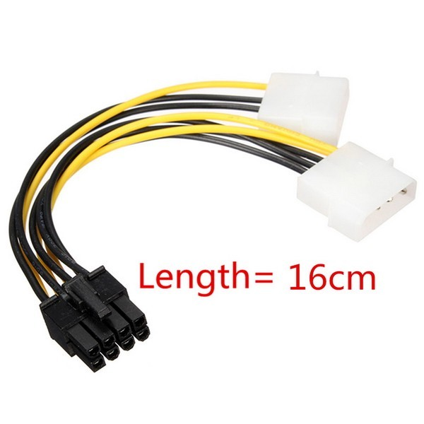 16 pulgadas 5 cm 8 pin pci express macho a doble lp4 4pin molex ide adaptador cable