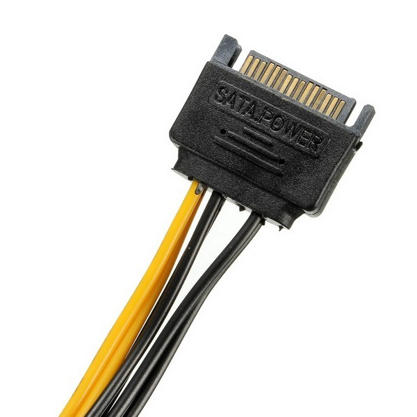 SATA 15 Pins to PCI-E 6 Pins HDD Power Adaptor Cable Lead Wire For PC Hard Drive