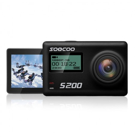 SOOCOO S200 2.45 Inch Touch LCD HD 4K NTK96660 IMX078 com WiFi Gryo Controle de voz externo MIC GPS