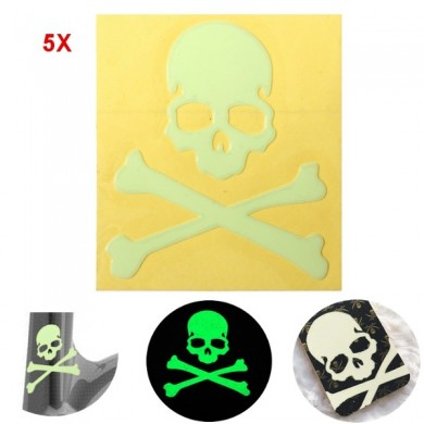 5pcs Noctilucent Skull Sticker Glow In The Dark Motorcycle Car Bike