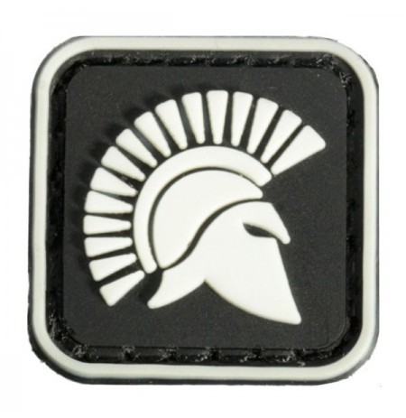 2.5x2.5cm square mini molon labe rey de esparto resplandor Tactical Pvc patch brassard negro