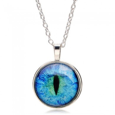 Vintage Drago Cat Eye Cabochon in argento placcato gioielli ciondolo collana regalo per le donne