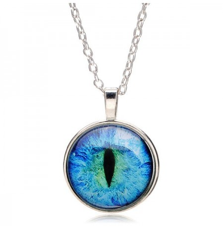 Vintage Dragon Cat Eye Glass Cabochon Silver Plated Pendant Necklace Jewelry Gift for Women