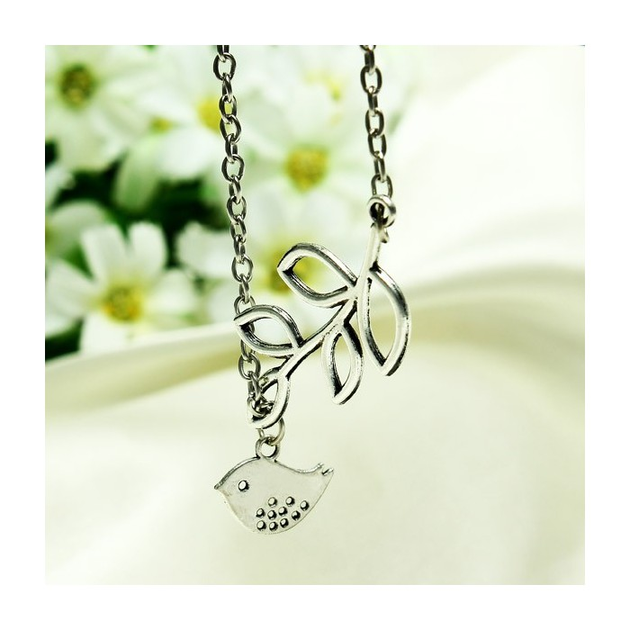 Silver Branch Tree Leaves Bird Pendant Necklace For Women
