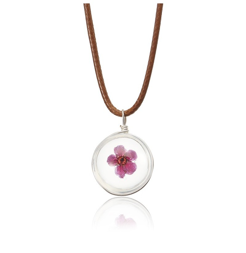 Lovely Dried Flowers Crystal Ball Pendant Wax Rope Clavicle Necklaces (style: #7) фото