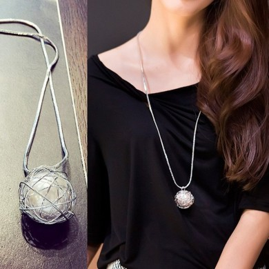 Silver Irregular hollow ball Artificial pearl long paragraph Sweater Chain Necklace