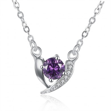 YUEYIN Sweet Heart Shaped Zircon Silver Necklace for Women