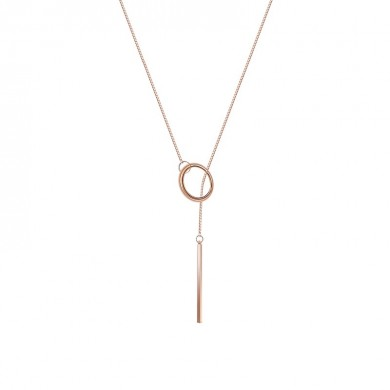 Elegant Rose Gold Plated Unique Bar and Circle Pendant Long Necklace Jewelry for Women