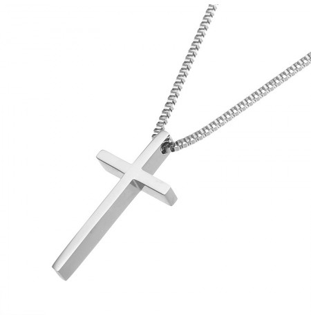 Simple Stainless Steel Cross Chain Silver Necklace for Women