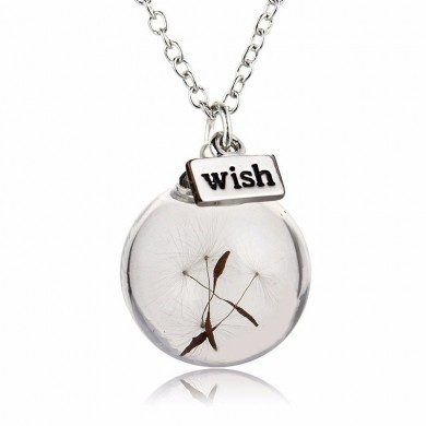 Vintage Alloy Glass Bottle Dandelion Letter Wish Pendant Necklace for Women