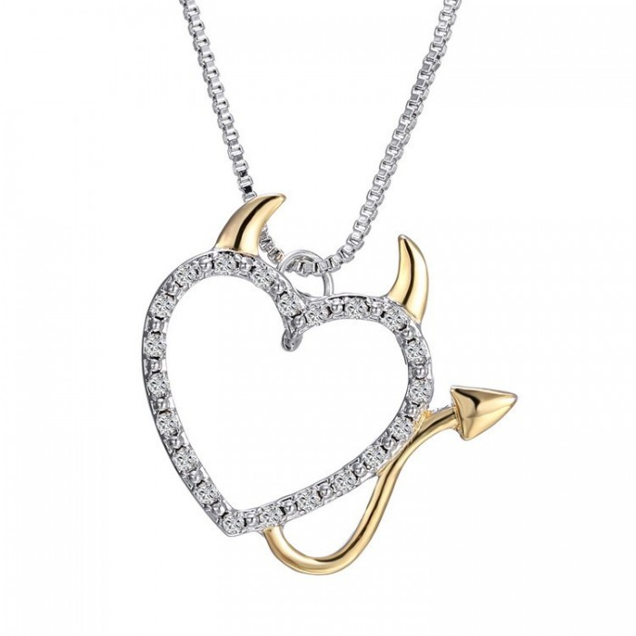 Sweet Couple Devil Love Necklace Inlaid Crystal Pendants Jewelry Sweater Chain Jewelry