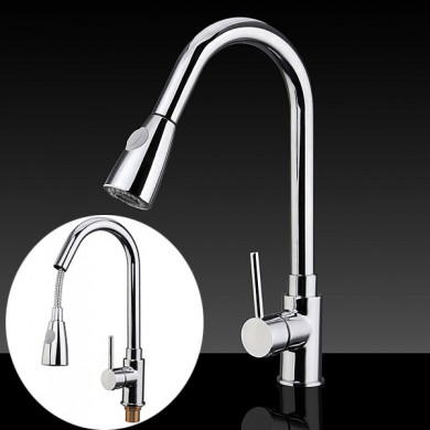 Pull Down Kitchen Faucets Mixer Tap Single-Hole Sink Tap Polished Chrome