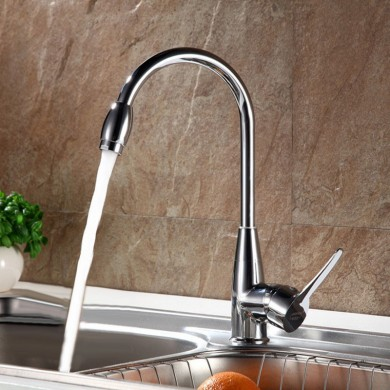 Red-crowned Crane Single Hole Hot and Cold High Curved Basin Kitchen Faucet