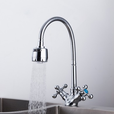 FRAP Silver Double Handle Faucet Kitchen Sink Faucet and Kitchen