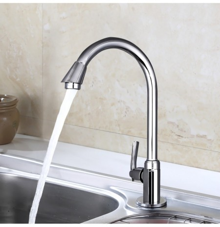 Stainless Steel Single Lever 360 Rotation Spout Kitchen Home Cold Water Faucet