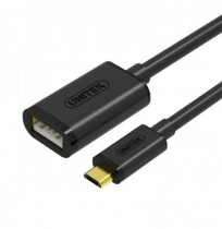 Unitek Micro USB Male to USB 2.0 Female OTG Black 20CM Data Cable For Mobile phone