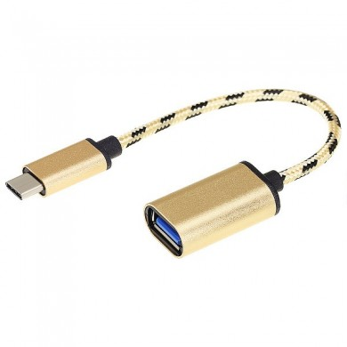 Bakeey Type-C Male to USB 3.1 Female OTG Gold Braided Adpater Cable Converter for S8 Xiaomi 6 Letv