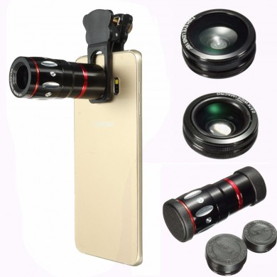 4in1 10X 180 Degree Selfie Telephoto Fisheye Macro Lens Clamp Clip Wide Angle For iPhone Samsung