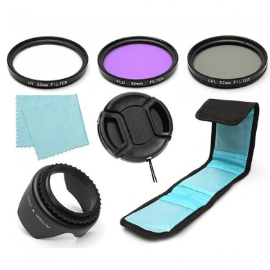 7Pcs 52mm UV CPL Polarizing FLD Lens Filter Hood Kit For Canon Nikon Camera