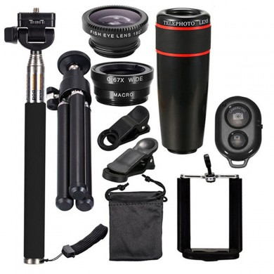 10 in 1 Smartphone Camera Lens Cell with Clip Universal Optical Telescope Kit Mobile Zoom
